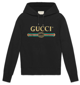 GUCCI EMBROIDERED COTTON SWEATSHIRT BLACK
