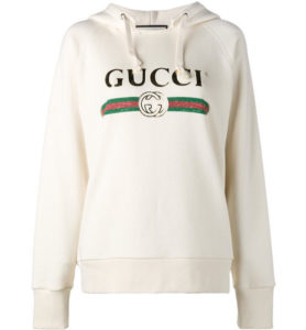 GUCCI EMBROIDERED COTTON SWEATSHIRT WHITE