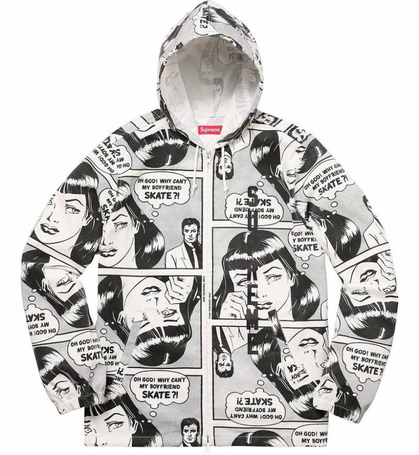 SUPREME X THRASHER HOODED ZIP UP JACKET WHITE
