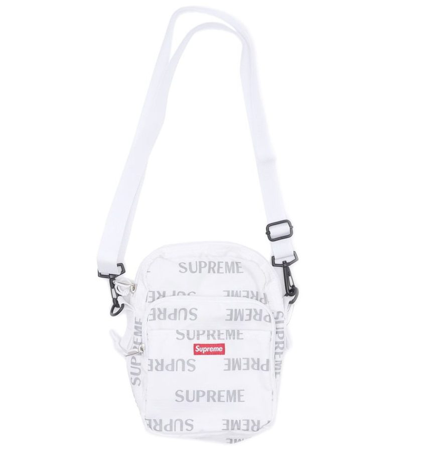 SUPREME REFLECTIVE REPEAT SHOULDER BAG WHITE