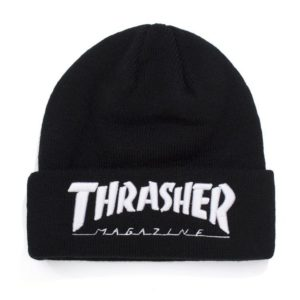 THRASHER EMBROIDERED LOGO BEANIE BLACK