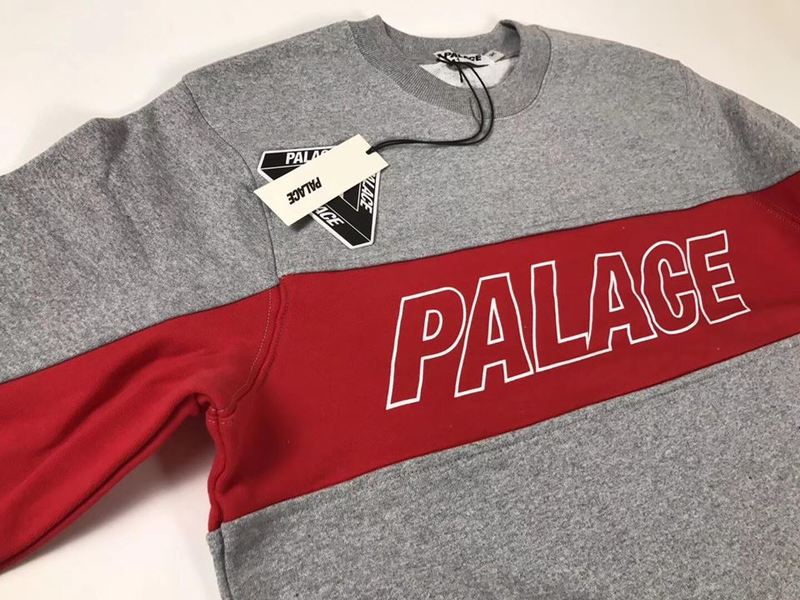 PALACE TRI PANEL CREW GREY MARL RED