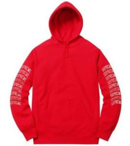 SUPREME SLEEVE ARC HOODED SWEATSHIRT RED