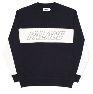 PALACE TRI PANEL CREW BLACK WHITE
