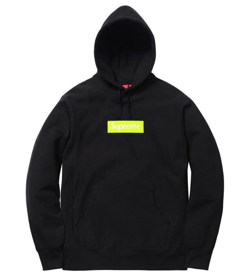 SUPREME BOX LOGO HOODED SWEATSHIRT BLACK LIME